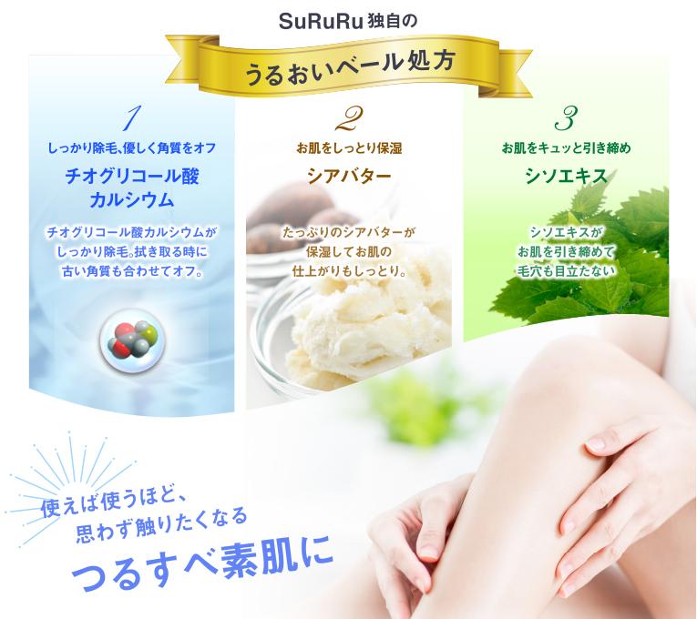 SuRuRu独自のうるおいベール処方/1.チオグリコール酸カルシウム/2.シアバター/3.シソエキス